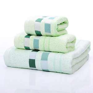 Amineders Luxury Ultra Soft Bamboo 3-Piece Washcloth Towel Set-Soft Absorbent and Eco-Friendly Skin Friendly for Bathroom Hotel Spa Kitchen Face Cloths (Plaid Green)