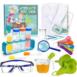 Giaford kids Science Experiments Kit with Lab Coat Child Scientist Role Play Dress Up Costume Educational STEM Toys Gift, Age 5-10