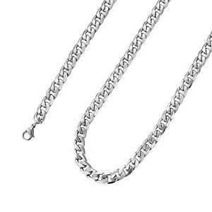 34 Inches Figaro Chain Necklace 7MM Stainless Steel Figaro Link Chain for Men Women