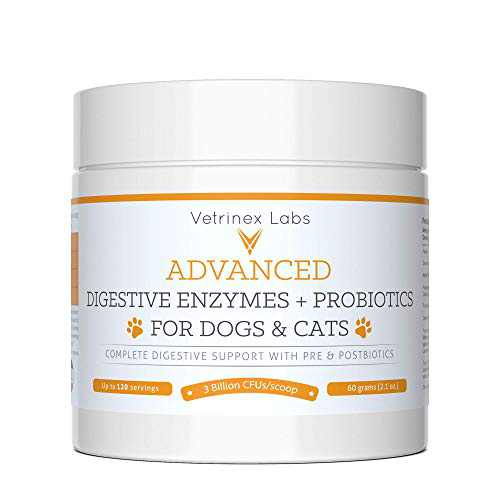 Vetrinex Labs Digestive Enzymes and Probiotics for Dogs and Cats - Probiotic Powder with Digestive Enzymes for Constipation, Diarrhea, and Coprophagia - UTI Skin Yeast Infection Treatment (60 Gram)