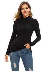 Turtle Neck Top for Women Long Sleeve Fitt T Shirt Base Layer Black