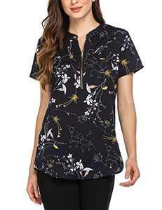 ANGVNS Women Chiffon Blouse V Neck Office Work Blouse for Women Short SleeveDress Shirts Tops for Summer