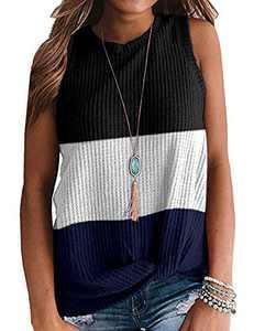 TODOLOR Ladies Waffle Knit Tank Tops Loose Fitting Splicing Color Block Sleeveless Blouses Tunics Shirt