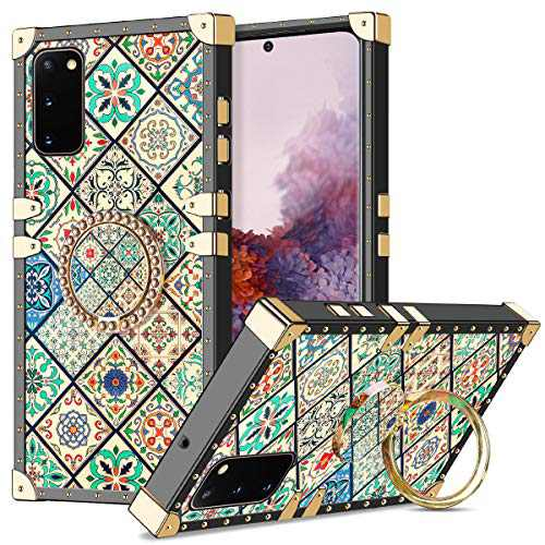 Wollony for Galaxy S20 Case with Ring Holder Square Edge for Women Girls Retro Flower Soft Protective Kickstand Case Metal Reinforced Corners Shockproof Cover for Galaxy S20 6.2inch-Square