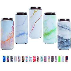 Slim Can Sleeves - Neoprene Bottle Insulator Sleeve Set of 4 Can Beverage Coolers for 12oz Energy Drink & Beer Cans (Fish) (Marble Pattern)