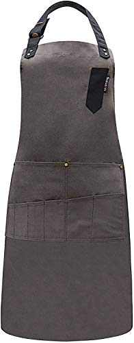"""TOONEV Aprons for Women and Men, Adjustable Chef Apron with Pockets Canvas Bib Apron Large Size 34"""" x 27"""" Cooking Apron for Kitchen BBQ Baking Garden Work (coffee)"""