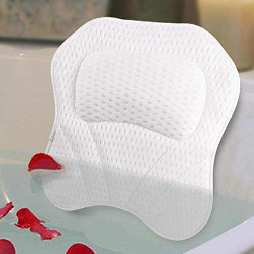 Bath Pillow Spa Bathtub Pillows Tub Cushion Head, Neck, Shoulder and Back Support Rest with 6 NonSlip Strong Suction Cups Home Bathing Relaxation 4D Mesh Material Gifts
