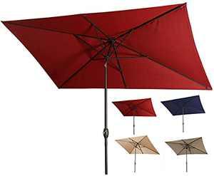 SFJ-CA 10 x 6.5ft Patio Umbrella Rectangular Outdoor Umbrella Patio Parasol Waterproof Polyester Market Umbrella Deck Umbrella with Crank & Push Button Tilt - Red