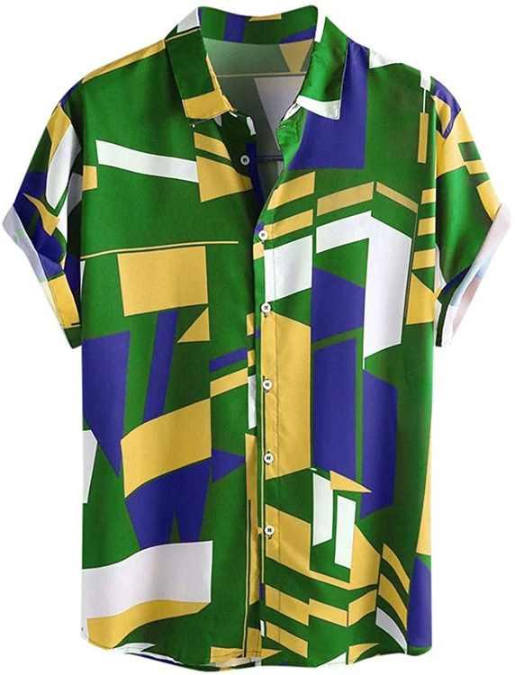 KPILP Hawaiian Shirt for Men 3D Geometric Pattern Printed Beach Shirt Short Sleeve Shit Shirt Mens Button Down Summer Casual Shirts Tops M - 3XL
