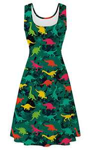 uideazone Summer Beach Dresses for Womens Ladies Dinosaur Sleeveless Pleated Sling Dresses Animal Print Scoop Sundress for Home Evening Party