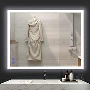 VENETIO 36 x 28 Inch LED Lighted Mirror for Bathroom Vanity Wall Mounted Frameless Makeup Mirror Backlit Design with Adjustable Daylights and Memory Touch Button, Anti-Fog and Waterproof Function