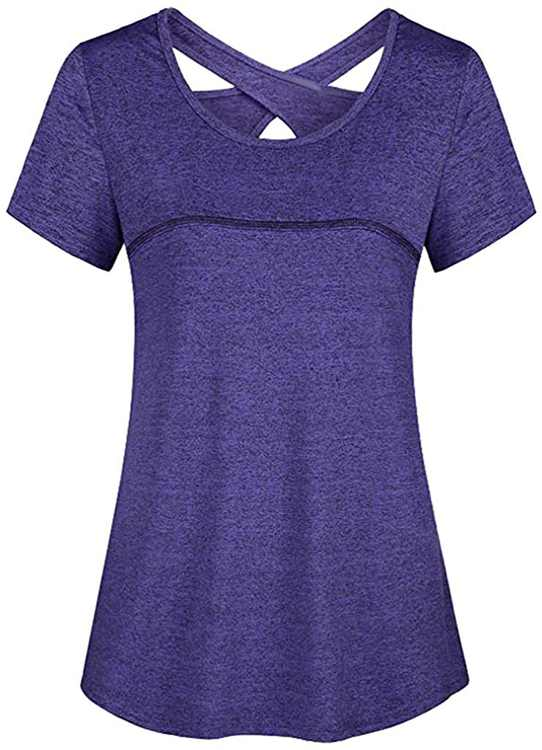 KPILP Ladies Yoga Shirt Tops Short Sleeve Round Neck Loose Gym Running Relaxed Tee Activewear Baggy Ultra Soft Athletic Sports Tops for Women