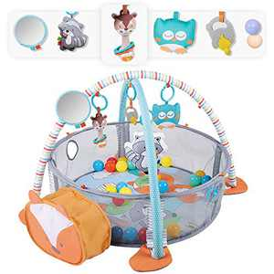 Baby Play Mat 3 in 1 Baby Gym with 4 Hanging Toys & 30 Balls - Infant Playmat for Tummy Time