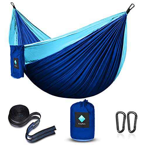 CozyHoliv Camping Hammock, Double Portable Parachute Hammocks for Outdoor Hiking Travel Backpacking - 210D Nylon Hammock Swing for Backyard & Garden 78''W118''L (Sky/Sapphire Blue - Double)