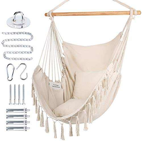 WBHome Extra Large Hammock Chair Swing with Hardware Kit, Hanging Macrame Chair Cotton Canvas, Include Carry Bag & Two Soft Seat Cushions, for Bedroom Indoor Outdoor, Max. Weight 330 Lbs (Beige)