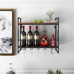 BENOSS Wall Mounted Wine Racks Industrial, 23.6 in with 5 Stem Glass Holder, Metal Hanging Wine Holder, 2 Tier Metal Hanging Wine Rack Rustic, Wood Shelf Wall Shelf
