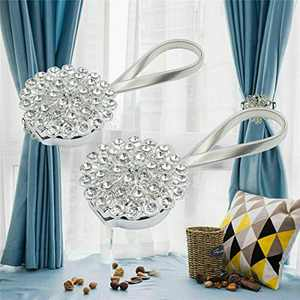 FlyCloud 2 Pack Magnetic Curtain Tiebacks, Sparkling Crystal Flower Curtain Tieback Stretchy Curtain Buckle Clips Curtain, Decorative Weave Rope Holdback Holder for Home Office Decorative