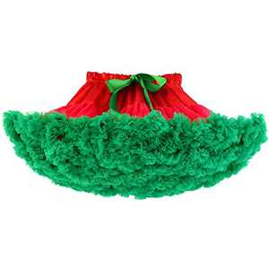 Meeyou Little Girls' 3 Layers Tulle Tutu Skirt with Lace (3T/4T, Red Green)