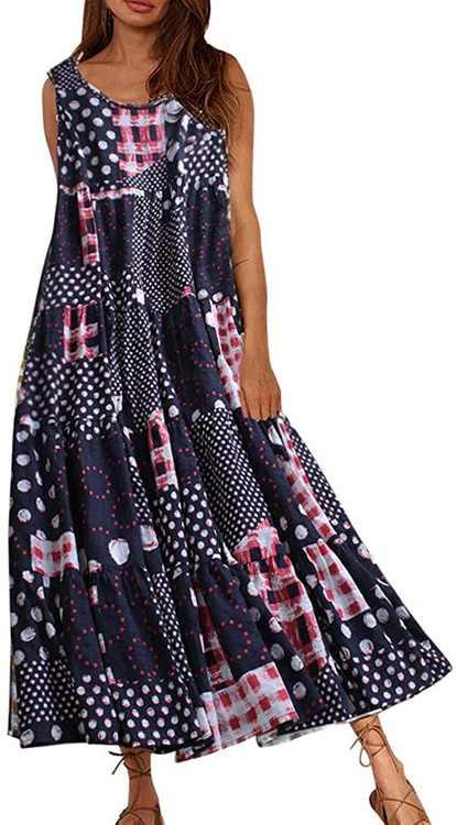 KPILP Women Vintage Dress Casual Loose Boho Long Maxi Dresses Ladies Sleeveless Polka Dot Summer Beach Dress Green/Navy,M-5XL(Black,L)