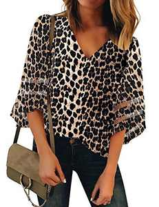 LookbookStore Women Leopard Print Tops for Women V Neck Casual Mesh Panel Blouse 3/4 Bell Sleeve Loose Top Shirt Size S(US 4-6)