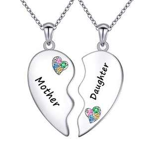 Mother Daughter Necklaces for 2 Sterling Silver Love Heart Necklace Twin Sorority Heart Halves Matching Birthday Christmas Gifts for Mother Daughter Women