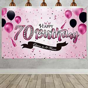 70th Birthday Party Decoration, Extra Large Fabric Pink Sign Poster for 70th Anniversary Cheers to 70 Years Photo Booth Backdrop Background Banner for 70th Birthday Party Supplies, 72.8 x 43.3 Inch