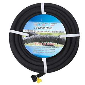 BUYOOKAY Soaker Hose 100ft with 1/2'' Diameter Interface Saves 70% Water Great for Gardens/Flower Beds Black