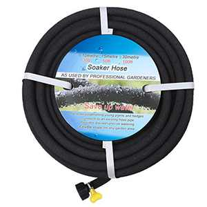 "BUYOOKAY Soaker Hose 50ft with 1/2'' Diameter Interface Saves 70% Water Great for Gardens/Flower Beds Black (50' x 1/2""-a, Black)"