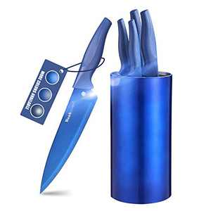 Wanbasion Kitchen Knife Set Block, Stainless Steel Kitchen Knife Set, Professional Kitchen Knife Set Block with Blue Titanium