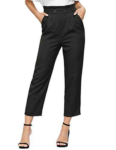 JASAMBAC High Waist Pants for Women Casual Paper Bag Pants Casual Size S Color Black