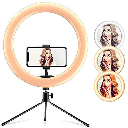 """Ring Light 10"""" with Desk Tripod Stand Phone Holder Desktop Ringlight 3 Light Modes 10 Brightness Level for Live Streaming Video Dimmable Desktop Makeup Photography Shooting (10 inch)"""
