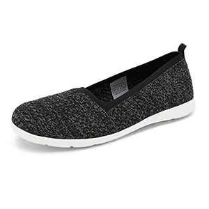 DREAM PAIRS Women's Black Slip On Flat Loafers Shoes Knit Casual Comfortable Sneakers Shoes 7M US Reggae-2