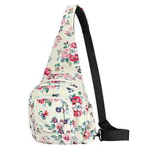 Women Sling Bag Small Crossbody Shoulder Backpack Outdoor Casual Back Pack for Girls Lady Teens Kids (Red Flower - 1)