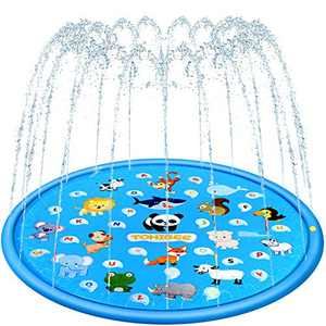 TOHIBEE Splash Pad for Kids, Upgraded 68'' Summer Outdoor Water Toys Sprinkler for Kids Splash Pad Play Mat & Wading Pool for Fun Games Learning Party 1-12 Years Old Boys Girls