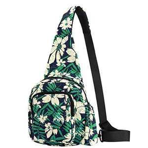 Women Sling Bag Small Crossbody Shoulder Backpack Outdoor Casual Back Pack for Girls Lady Teens Kids (White Flower - 2)