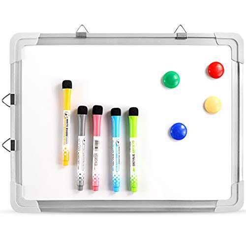 Small Dry Erase White Board, Magnetic Portable Hanging Whiteboard Easel for Wall with Markers and Magnetsfor Kids Drawing, Home and Office, 16X12 Inch