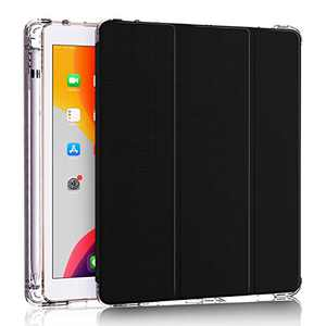 DDup iPad 7th Generation Case - New iPad 10.2 Case with Pencil Holder, Dual Shockproof Smart Leather Cover Soft Translucent Matte Back Slim Shell Auto Sleep/Wake (Black case for iPad 10.2)
