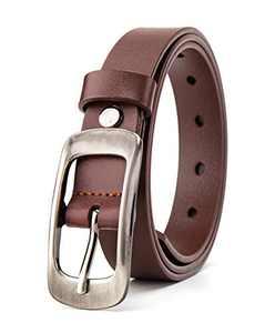 BISON DENIM Leather Belt Women Pin Buckle Belt Thin Belt Skinny Waist Belt for Dress Jeans Pants