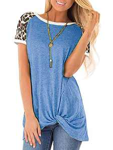 Women's Loose Casual Knot Twisted Tops Tunic Blouse Solid Color Short Sleeve T Shirts Blue M