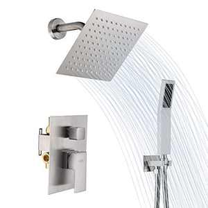 """GUSITE Brushed Nickel Rain Shower System, Shower Faucet Set Complete with 8"""" Square Rain Shower Head and Handheld Shower, Bathroom Rain Mixer Shower Combo Set, Rough-In Valve Body and Trim Included"""