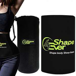 4EverShape Waist Trimmer Trainer for Women & Men, Sweat Belt, Neoprene Sweat Wrap for Stomach Sauna Exercise, Mesh Bag Included (S)
