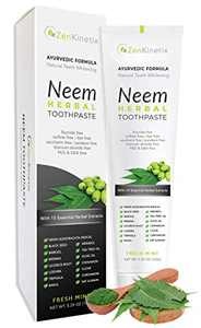 ZenKinetix Neem Herbal Toothpaste - Natural Teeth Whitening, Vegan, Ayurvedic, Fluoride Free, SLS Free, Gluten Free, Mint Flavor, 5.29 oz