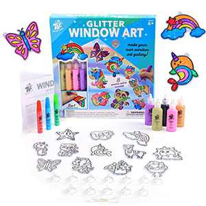 TBC The Best Crafts Glitter Window Art for Kids, DIY Stained Glass Effect Acrylic Suncatchers Arts & Crafts Kit, 12 Suncatchers, 8 Peelable Window Paints, Make Your Own Window Art Gallery