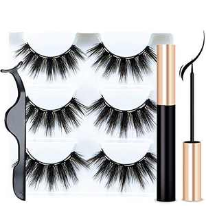 Magnetic Eyelashes with Eyeliner - Magnetic Eyeliner and Lashes Kit, 5D Faux Mink Lashes,Eyelashes Natural Look Reusable False Lashes (3 Pairs)