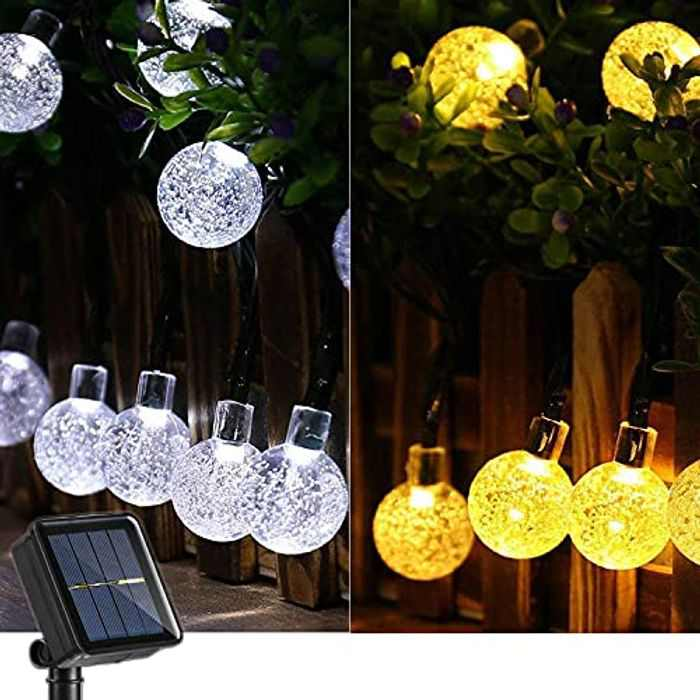 Joomer Globe Solar String Lights, 39Ft 60 LED 2-in-1 Color Changing Crystal Ball Fairy String Lights for Patio, Lawn, Porch, Gazebo, Bistro (White & Warm White)
