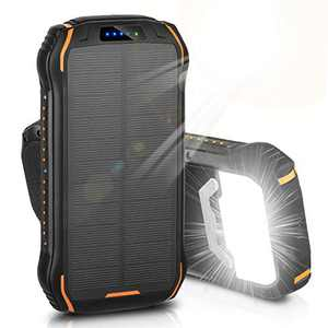 Solar Charger, ENEGON Portable Outdoor Solar Panel Power Bank 26800mAh with 18 LEDs Flashlight and 3 Outputs-5V/3.1A & 2 Inputsfor iPhone Android Smartphones and Other Devices for Camping Hiking