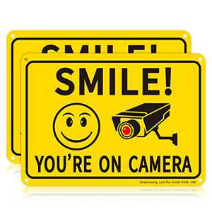 Sheenwang 2-Pack Smile You're on Camera Sign, Video Surveillance Signs Outdoor, UV Printed .040 Mil Rust Free Aluminum 10 x 7 in, Security Camera Sign for Home, Business, Driveway Alert, CCTV