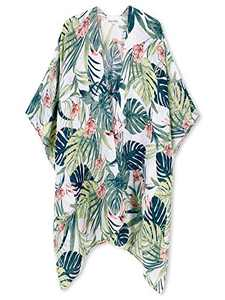 Moss Rose Women's Beach Cover up Swimsuit Kimono Cardigan with Bohemian Floral Print (Palm Leaf)
