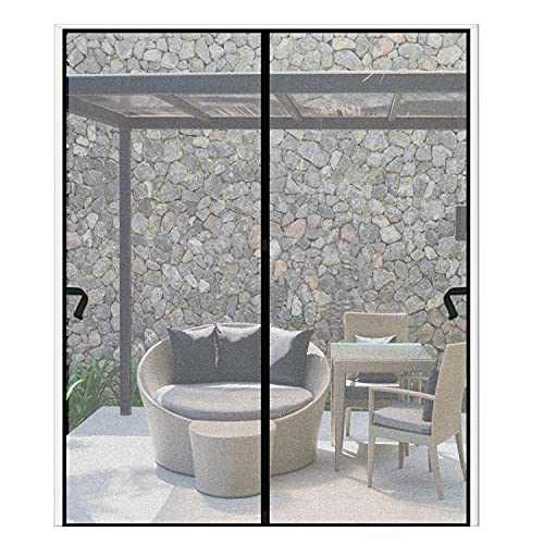 Magnetic Screen Door 72 x 96 inch, CHUSSTANG Heavy Duty French Door Mesh Curtain Magnet Patio Door Cover Auto Closer Sliding Door Screen Door with Full Frame Hook and Loop Keep Bugs Out