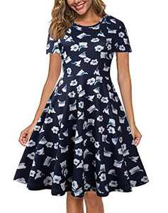 CUQY Women's Summer Casual Short Sleeve Round-Neck Midi Floral Swing Dress with Pockets,Nave Blue,L